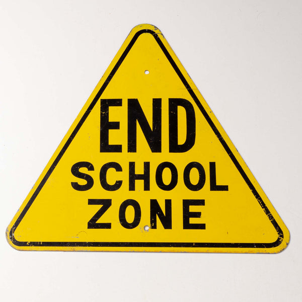 Metal End School Zone Sign