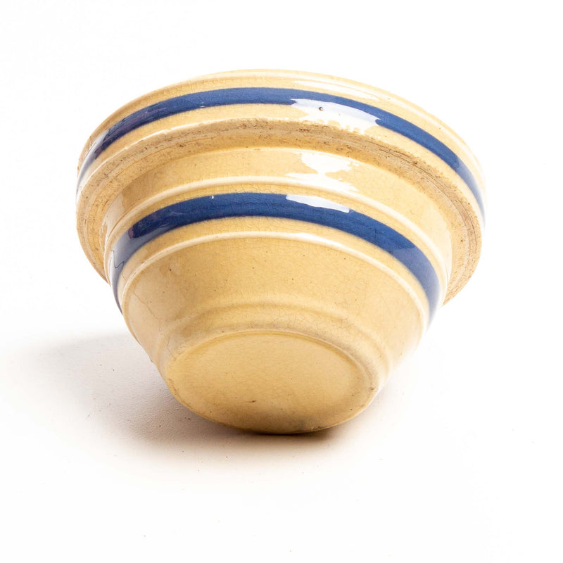 Blue Striped Yellow Ware Pottery Bowl