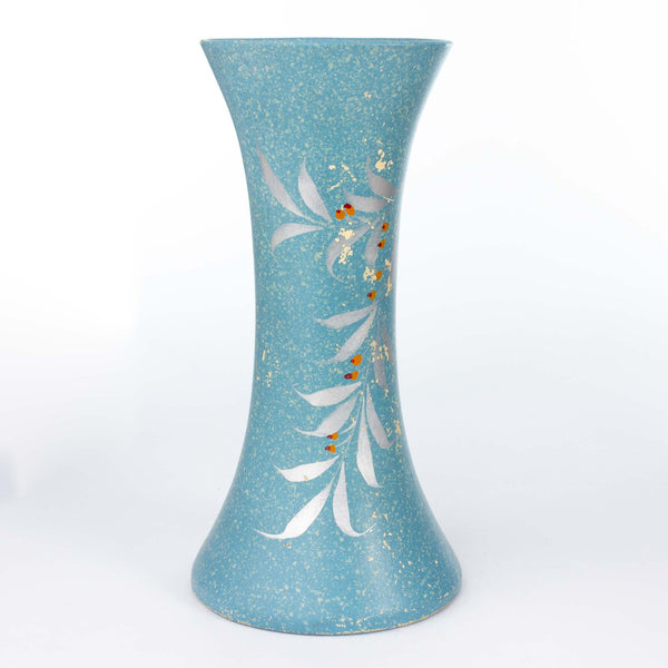 104 12 Vase Blue W/Buffalo Berries Medalta