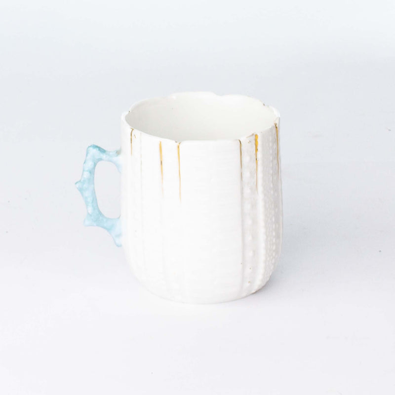 Shaving Mug & Saucer White Bluish Handle