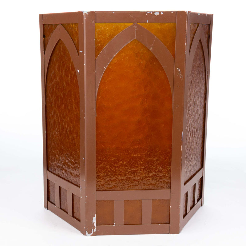 Hexagonal Metal and Amber Light Shade - 6""