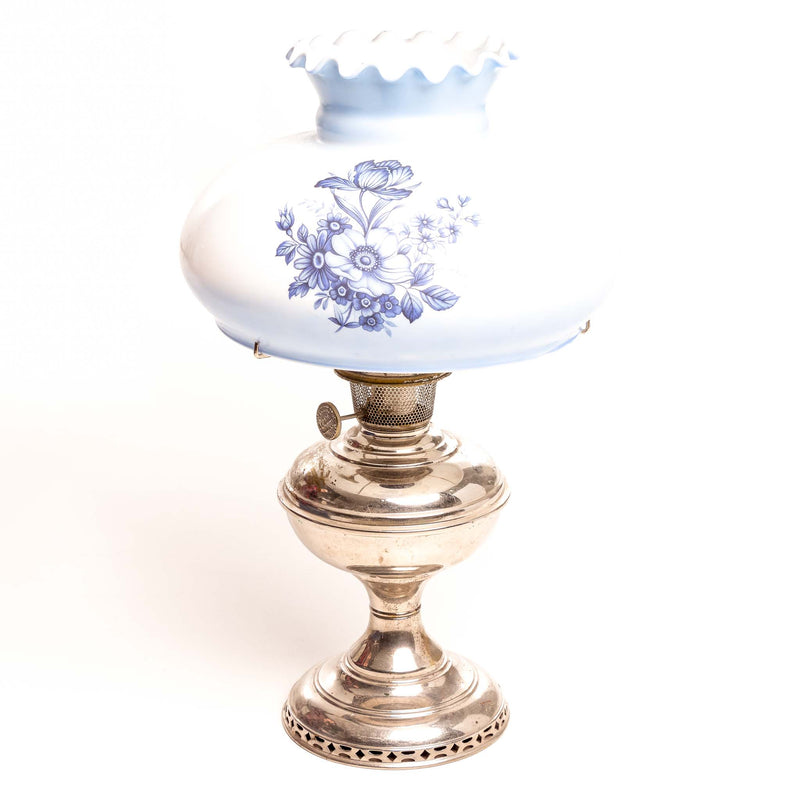 Aladdin Nickel Coal Oil Lamp W/Blue And White Shade