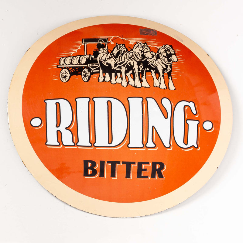 Round Riding Bitter Porcelain Sign