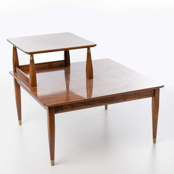 Mid-Century Elm Square Table with Tier