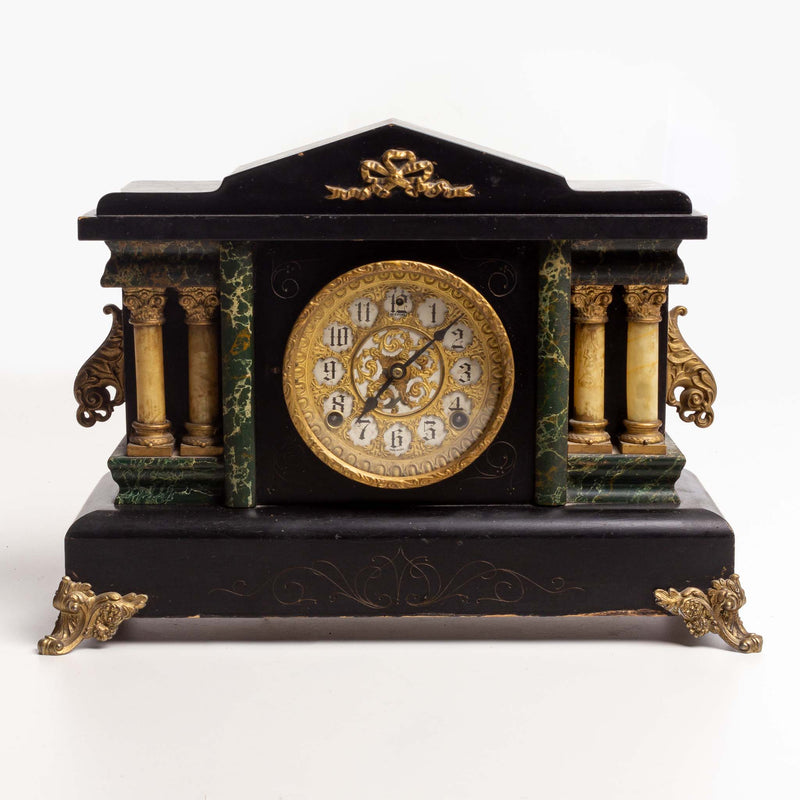 New Haven Mantle Clock Sessions Black