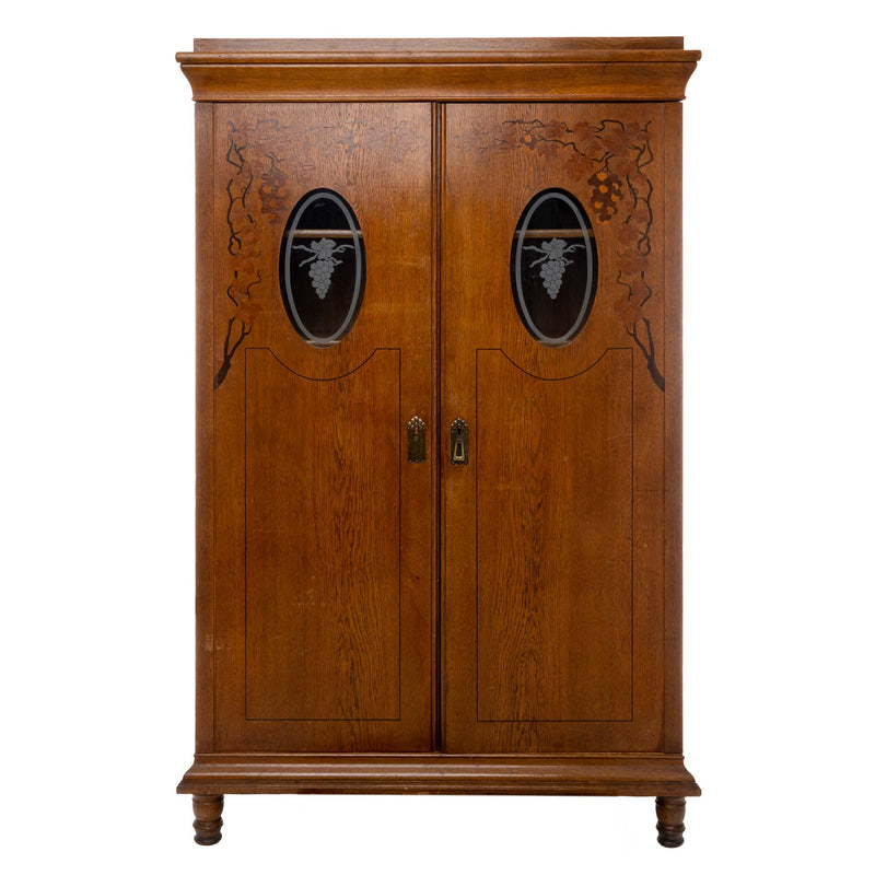 Oak Wardrobe with Oval Glass Panels