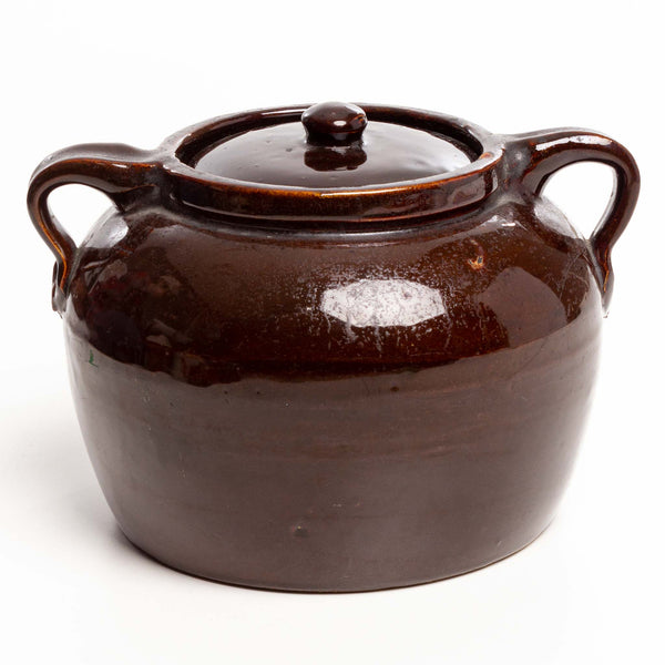Dark Brown Glaze #4 Bean Pot