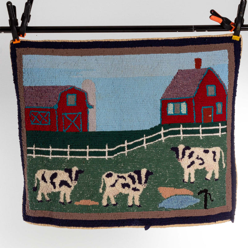 Hooked Rug Wool And Rag Farm Yard C1930's