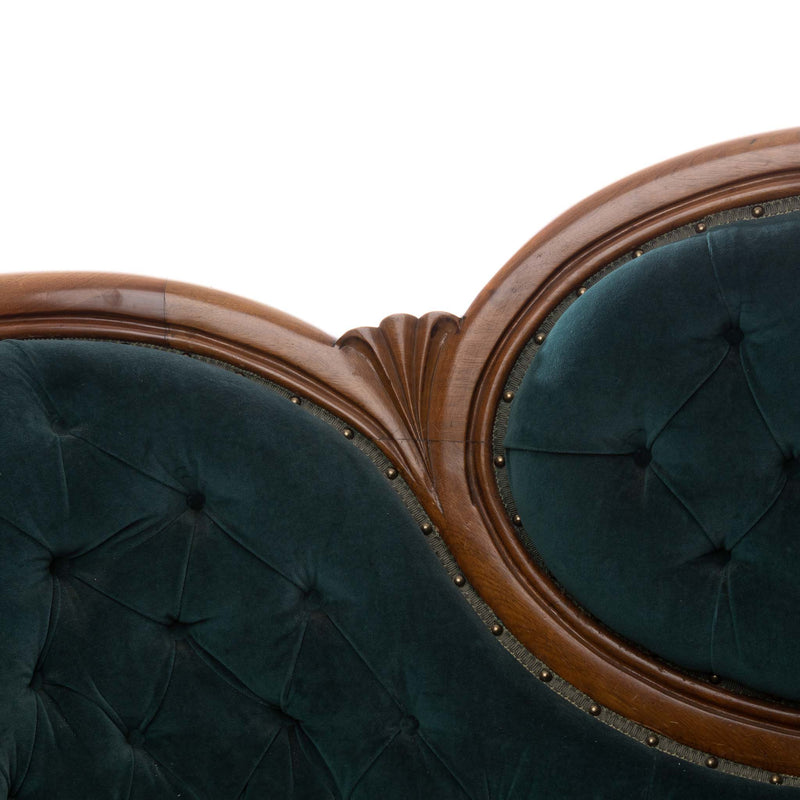 Victorian Walnut Framed Settee with Teal Velvet Fabric
