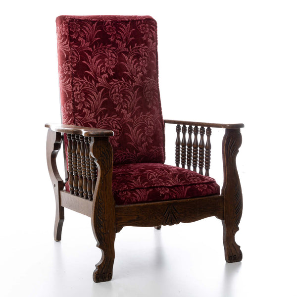 Velour Upholstered Morris Chair