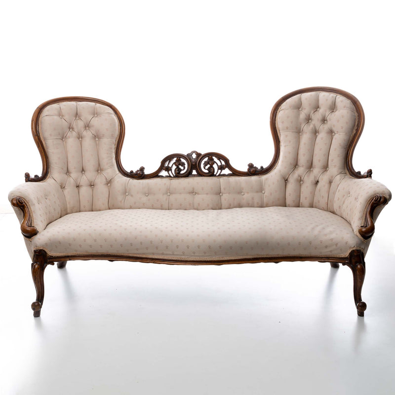 Victorian European Walnut Courting Couch