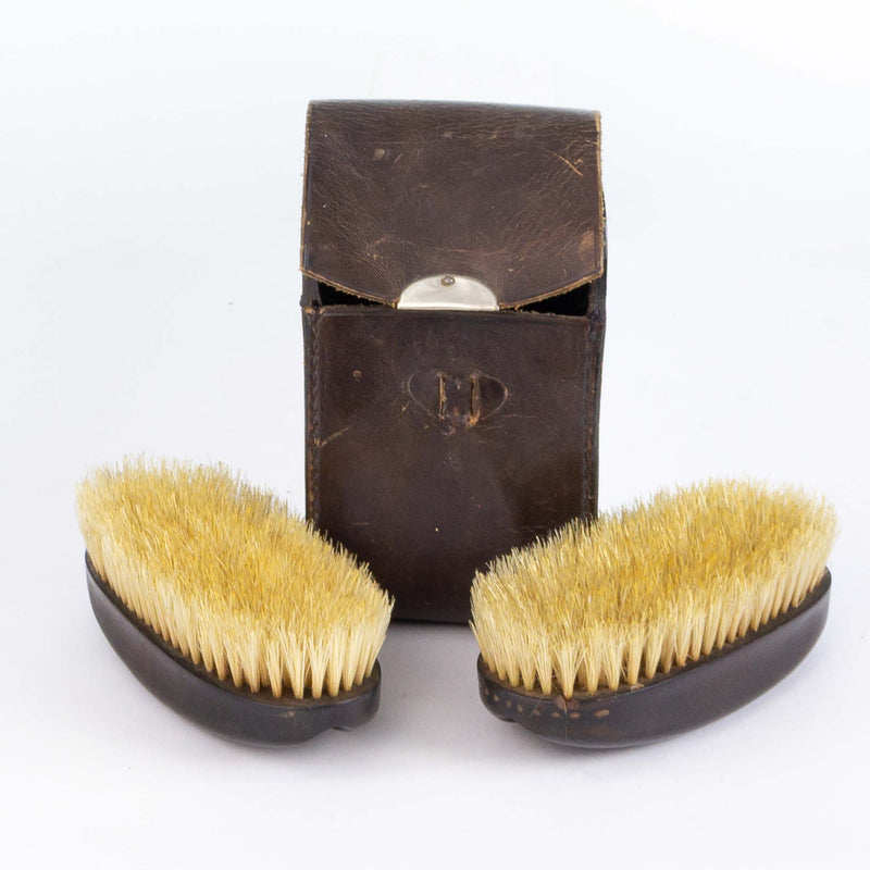 Leather Cased Pair Ebony Backed Clothes Brushes