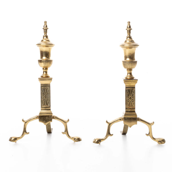 Pair of Small Brass Andirons