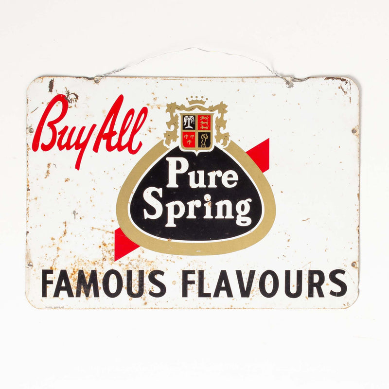 All Pure Spring Famous Flavours Tin Sign 1964
