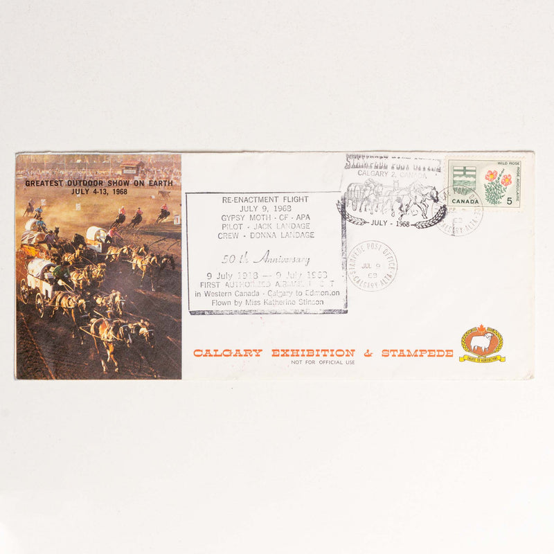 Calgary Stampede Envelope - 1968, 50th Anniversary of Airmail