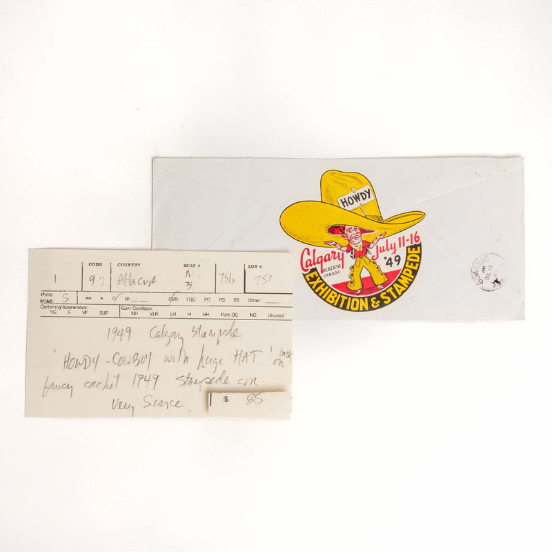 Calgary Stampede Envelope - 1949, Howdy Decal