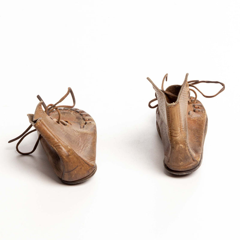 Pair of Child's Leather Boots with Rawhide Laces