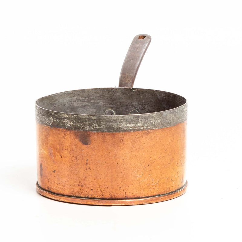 "Copper Sauce Pan with Iron Handle - 8"" Diameter"