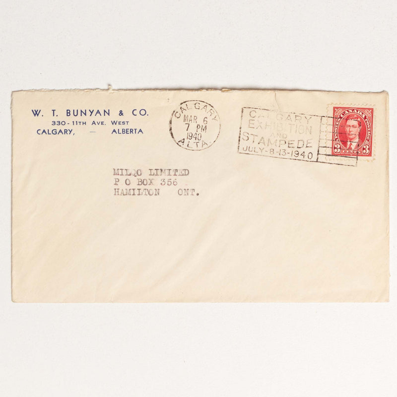 Bunyan Envelope - 1940 with Calgary Stampede Stamp