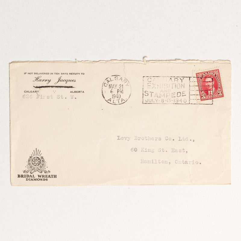 Harry Jacques Envelope - 1940 with Calgary Stampede Stamp