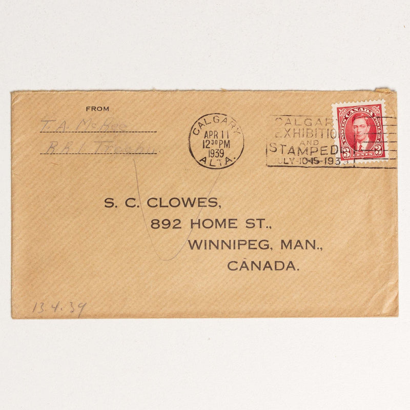 Envelope to S.C. Clowes - 1939, Calgary Stampede Stamp