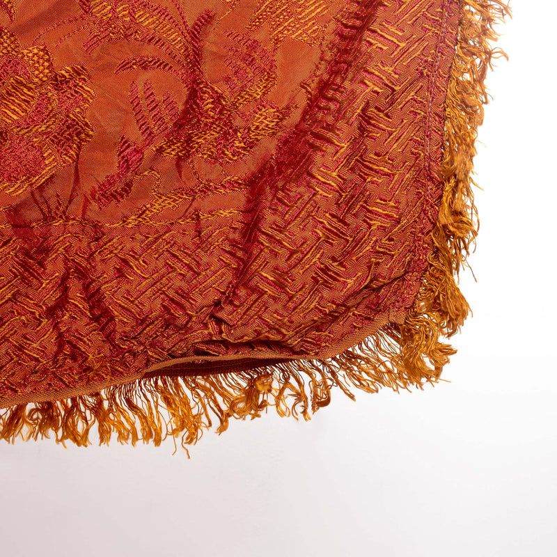 Fringed Bedspread Chinese Silk Orange/Maroon - 68x92""