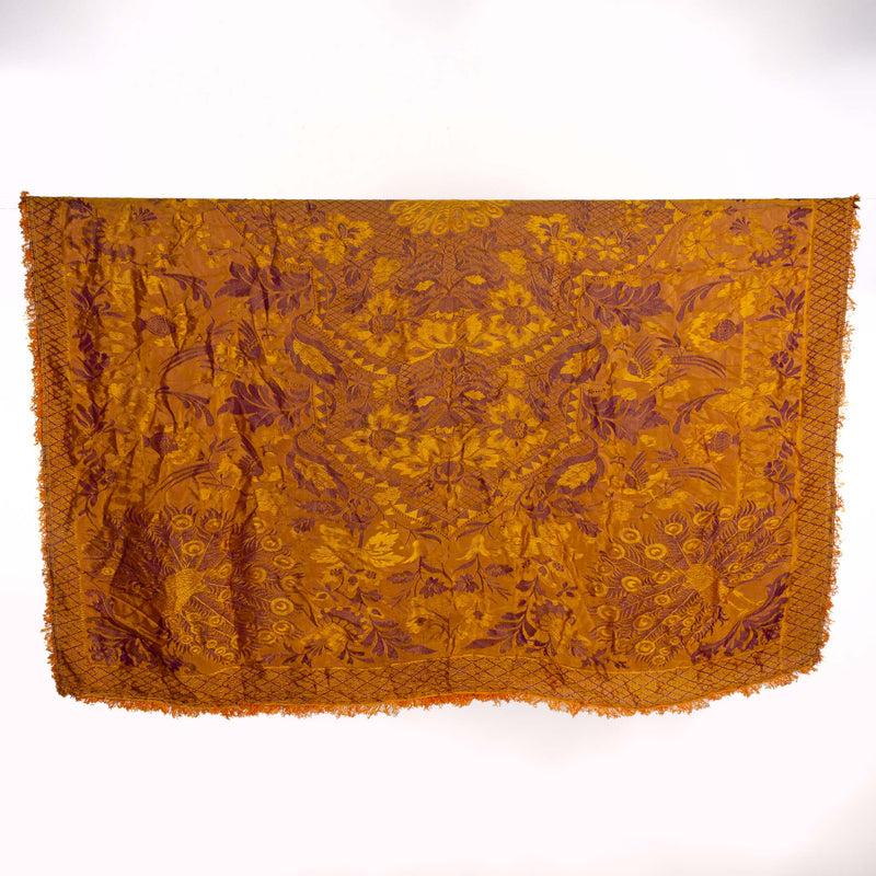 Fringed Purple and Gold Chinese Silk Throw - 92x76""