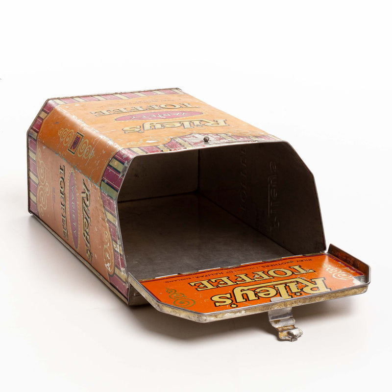 Large Rileys Hinged Lid Toffee Tin Orange