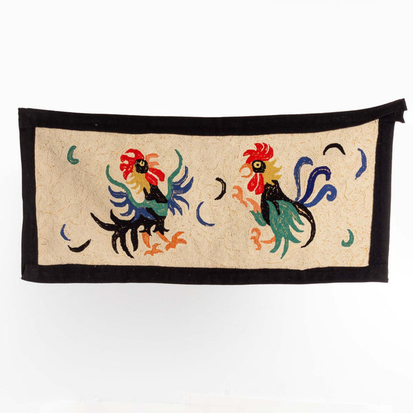Hooked Rug with Two Roosters