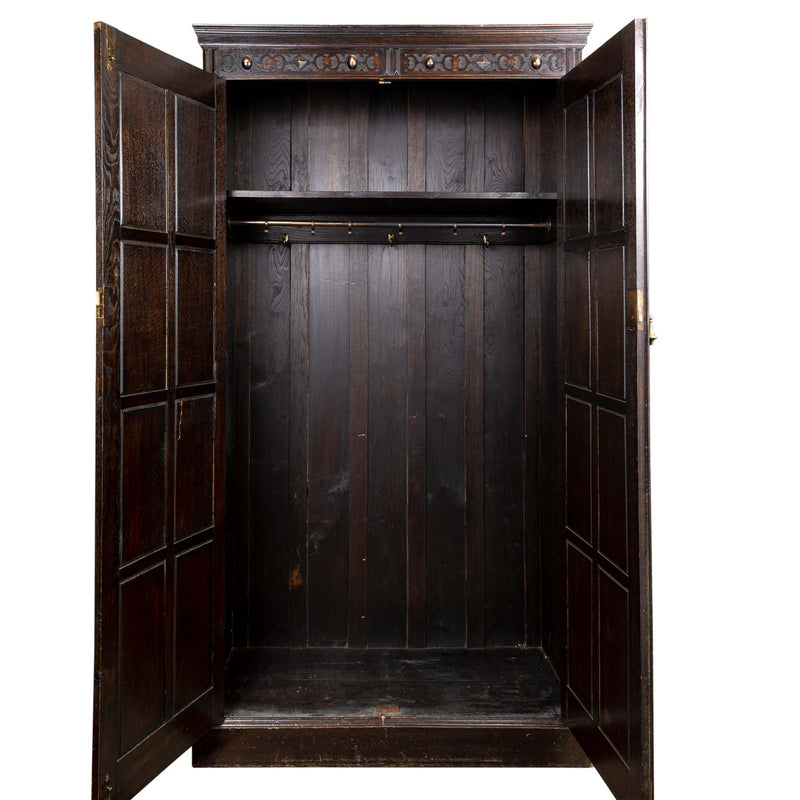 Jacobean Revival Oak Armoire