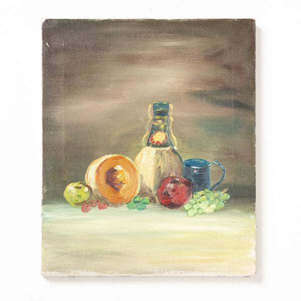 Oil Painting on Canvas - Wine Bottle & Fruit
