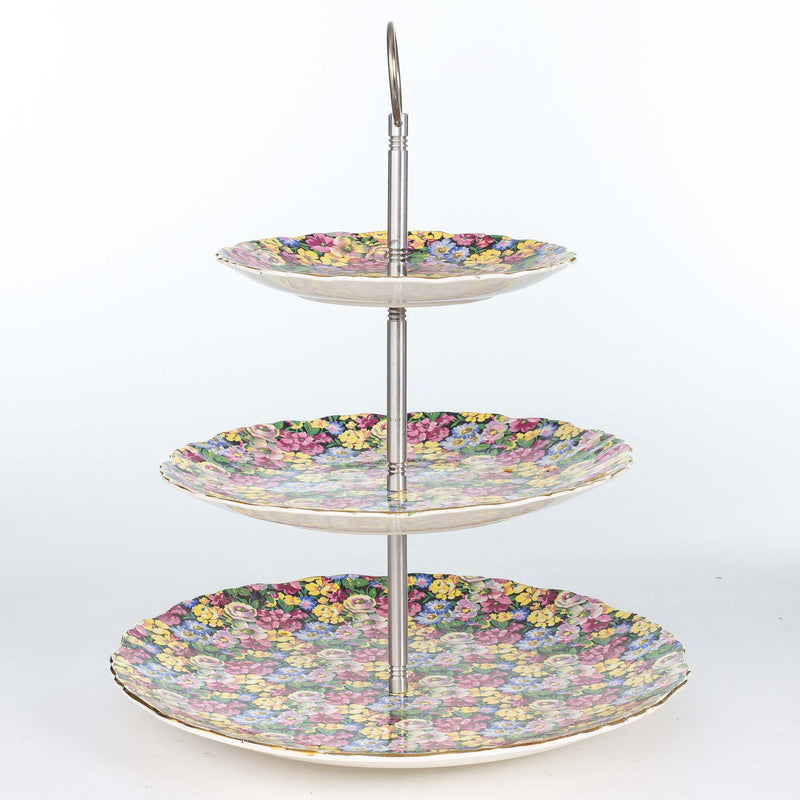 Old Foley Florida 3 Tiered Cake Server Chrome Handle