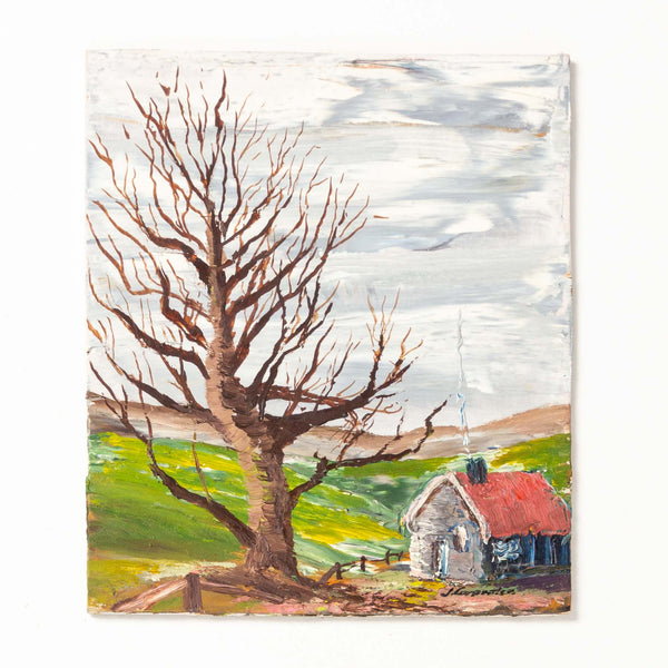 Oil Painting on Board - Cabin and Tree