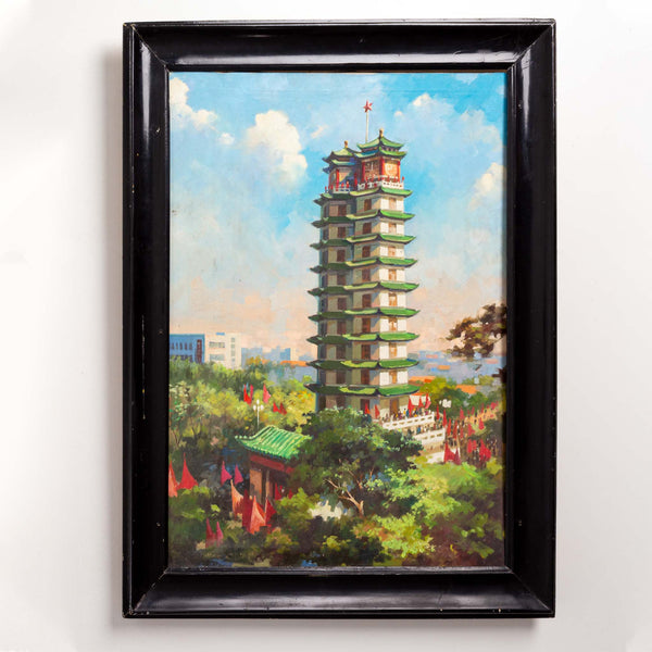 Black Framed Original Oil on Canvas - Chinese Building