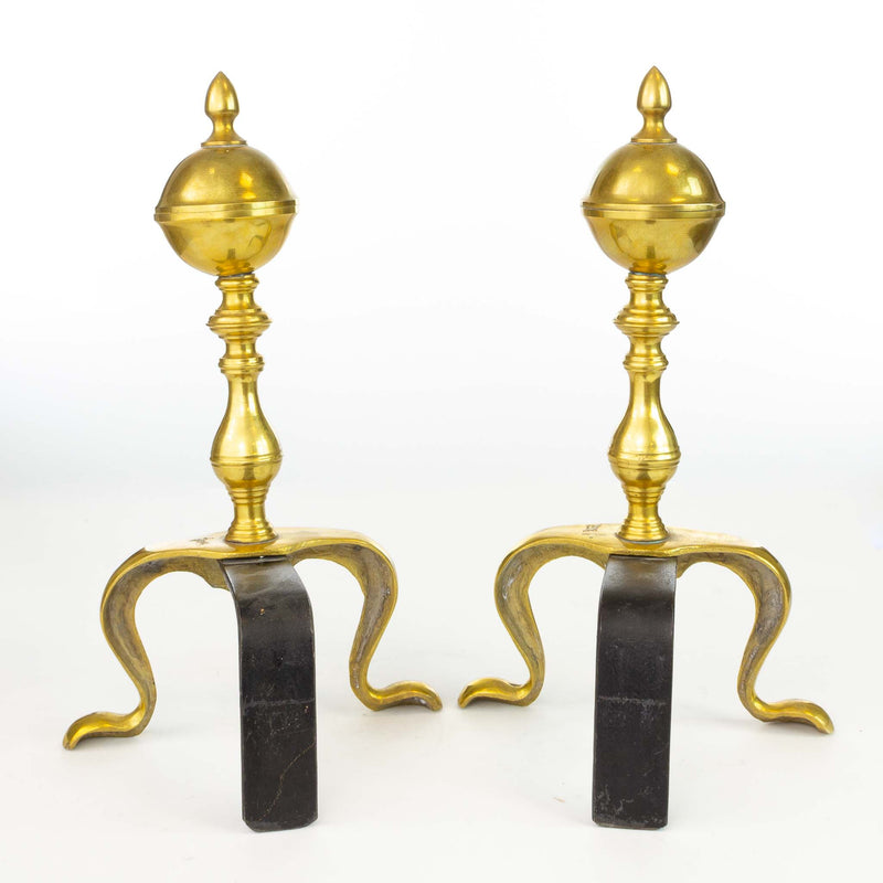 Pair of Brass Polished Andirons