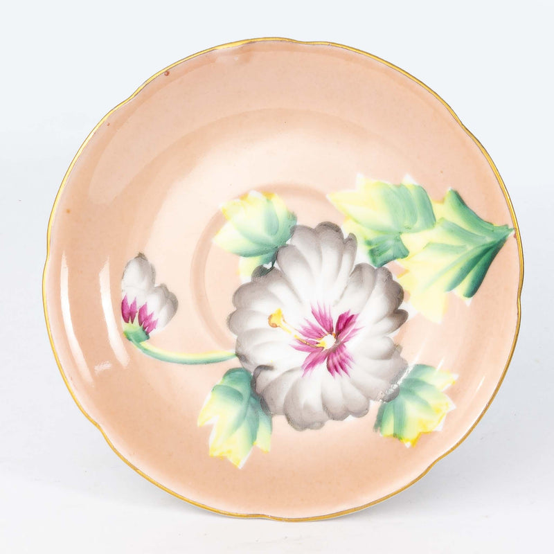Cup & Saucer - Pale Pink with Grey Flowers