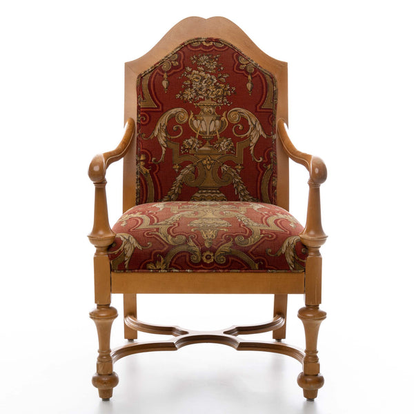 Red Upholstered Arm Chair with Light Wood