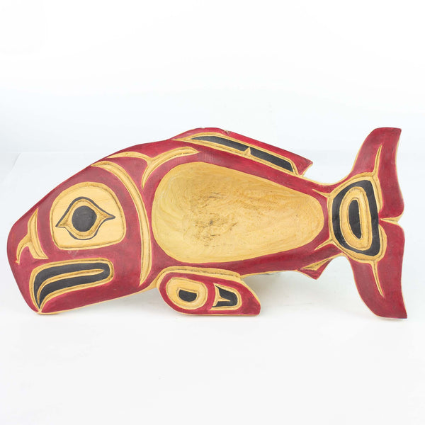 Salmon Feast Bowl Carved and Painted Ted Eberle