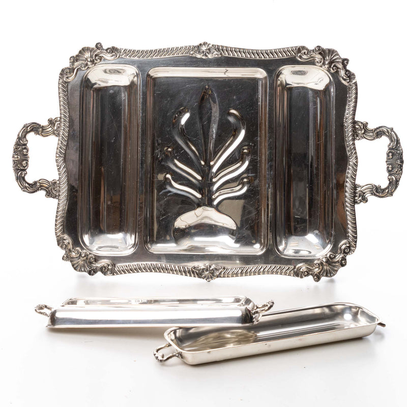 Large Silver Tray with Side Compartments