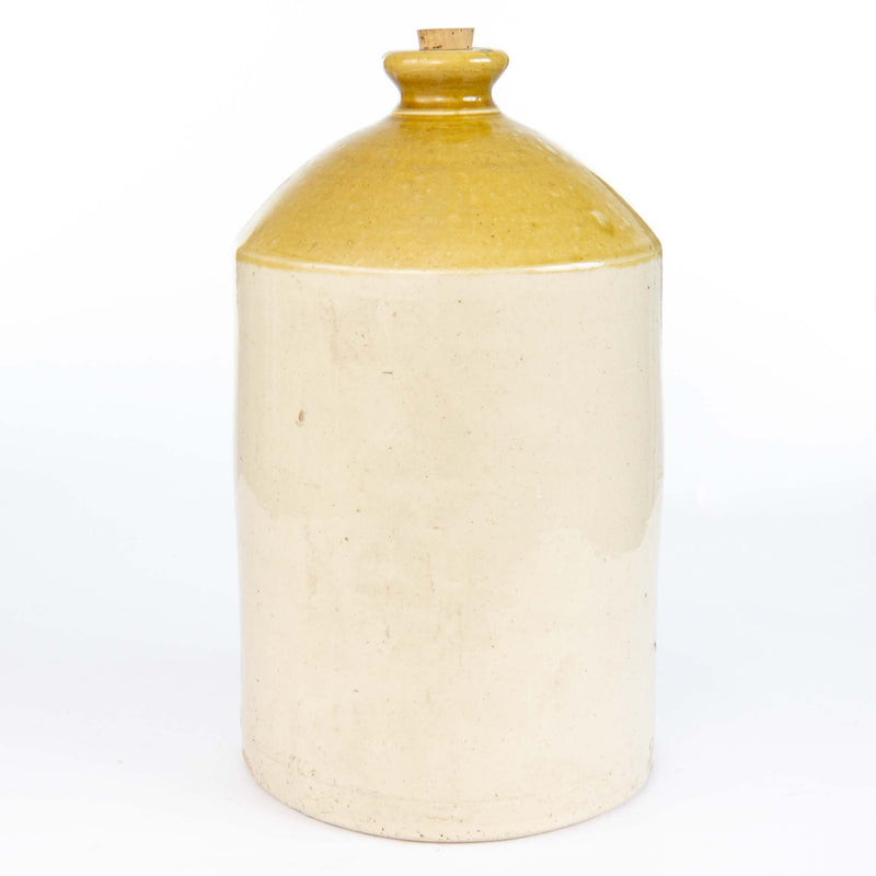 Pottery Beige and Yellow Whiskey Jug