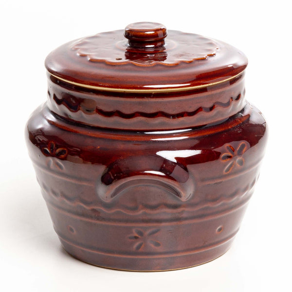 Brown Glazed Crockery Pot with Lid