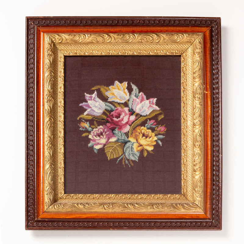 Cross-Stitched Flowers in Ornate Frame