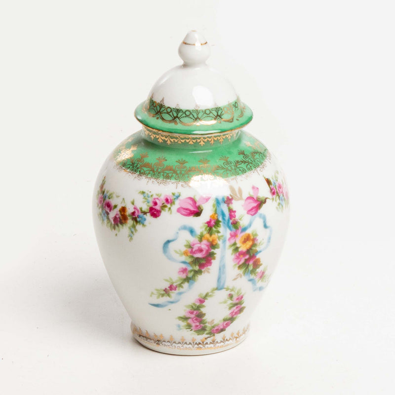 Small Lidded Container with Floral Pattern