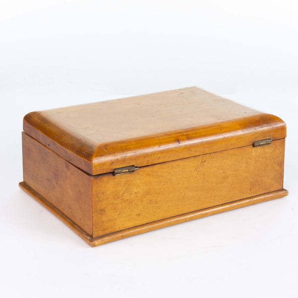 Wood Two-Section Box with Hinged Lid