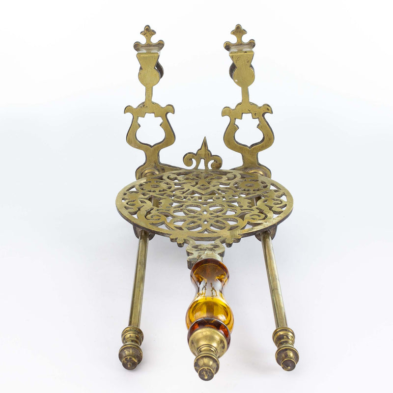 Pierced and Chased Brass Pot Holder with Amber Glass Handle