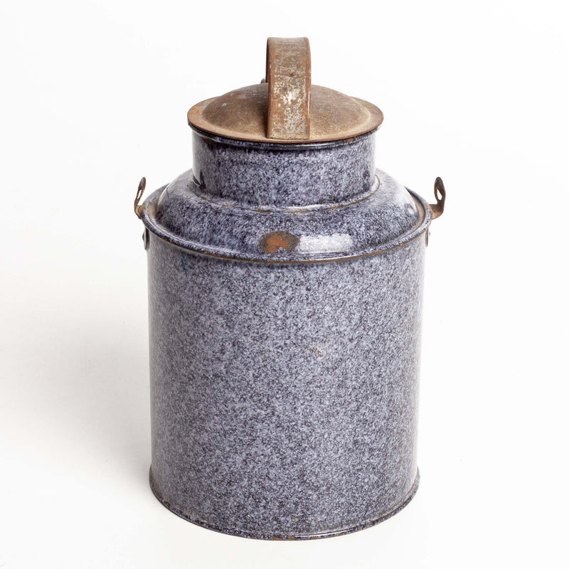 Grey and Black Graniteware Enamel Pot