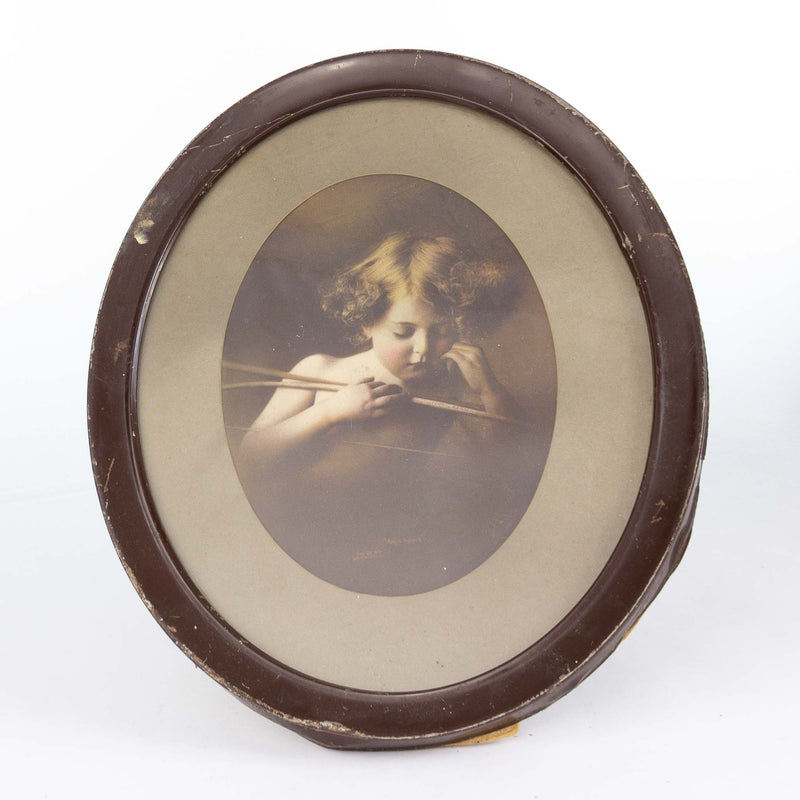 Oval Framed Cupid Asleep 1987 Picture