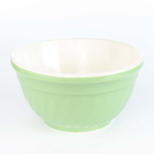 "Green W Ivory Inside Mixing Bowl 9"" as is"