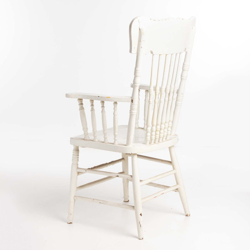 White Painted Chair with Dowel Back