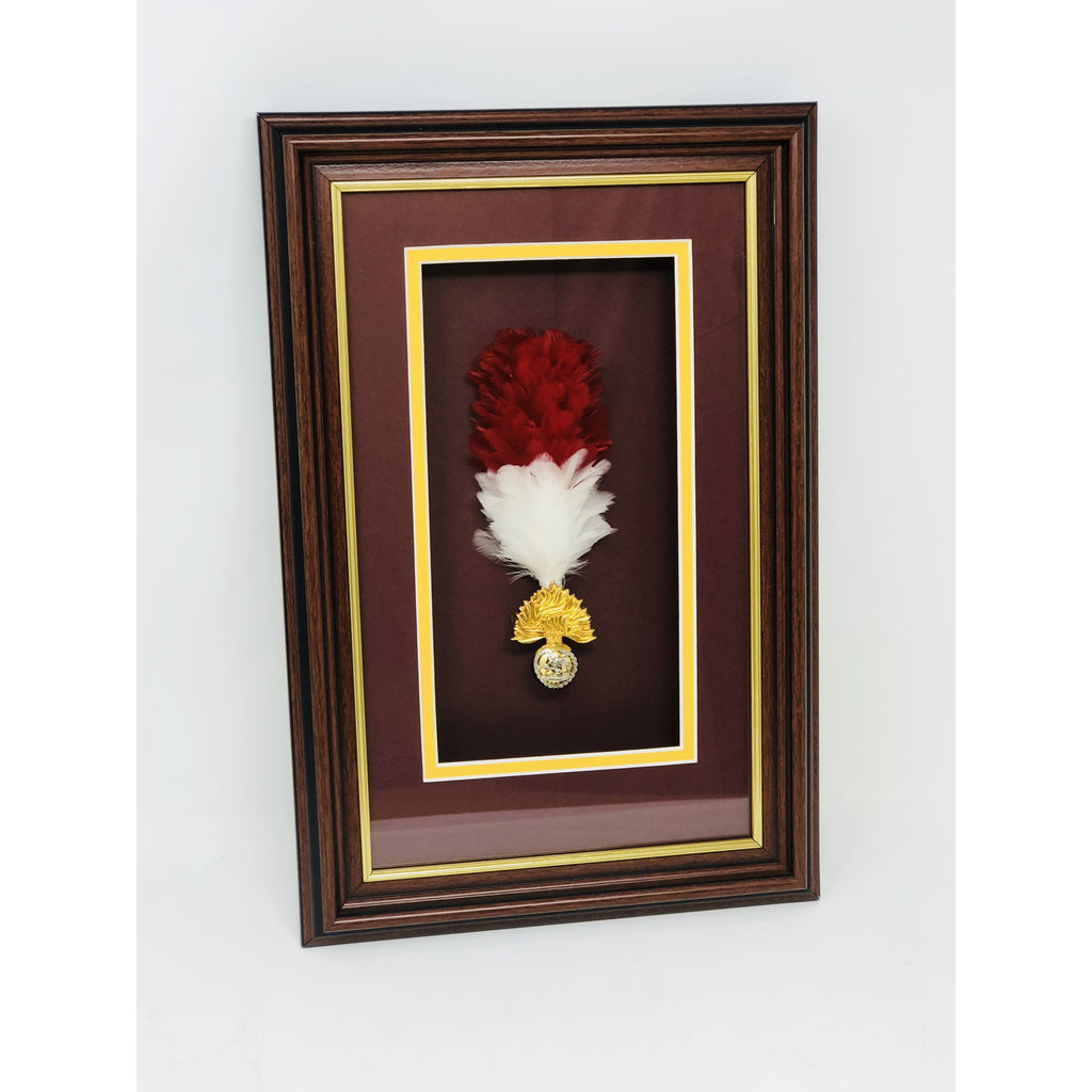The Royal Regiment of Fusiliers Framed Cap Badge & Hackle